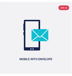 Two color mobile with envelope icon from vector