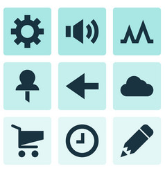 user icons set with activity edit back and other vector image