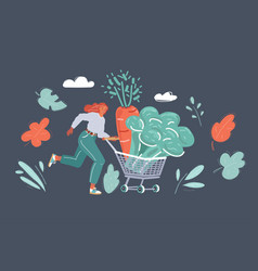 vegetables in basket woman run vector image