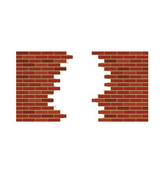 vintage brick wall with hole vector image