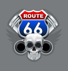Vintage skull and route 66 logo vector