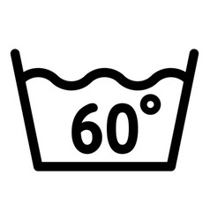 Wash at 60 degree or under icon outline style vector