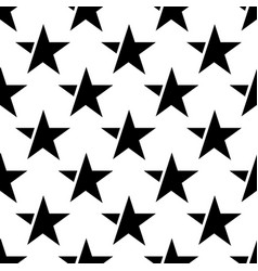 white seamless pattern with black star vector image