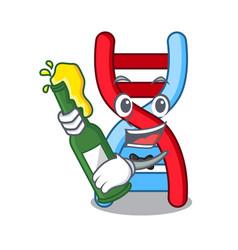 With beer dna molecule mascot cartoon vector