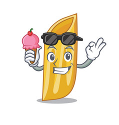 with ice cream penne pasta character cartoon vector image