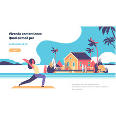 Woman doing yoga exercises over beach villa house vector
