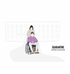 young men on wheelchair and women in white face vector image