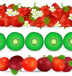 collection seamless borders with fruits on white vector image vector image