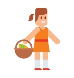Easter girl with traditional spring basket eggs vector image