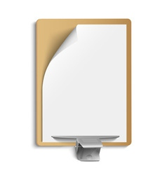 Metallic clamp on blank sheet of paper vector image