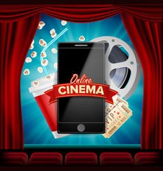 online cinema banner with mobile phone vector image