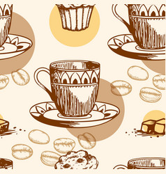 seamless pattern with cake and coffee vector image vector image