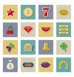Slot machine and gambling flat icon set with vector image