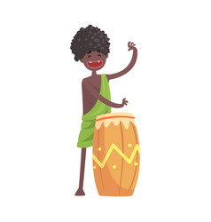 black skinned man aborigine playing on ethnic drum vector image vector image