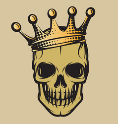 color with skull in crown vector image