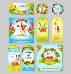 easter gift tag greeting banner and poster set vector image vector image