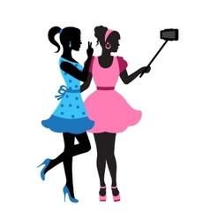 Girls doing selfie vector