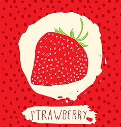 Strawberry hand drawn sketched fruit with leaf on vector image