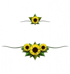 sunflower cartoon ornaments vector image