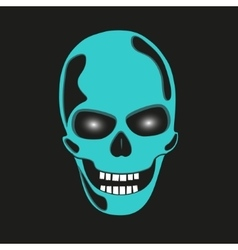 Turquoise skull with glowing eye sockets vector image