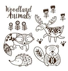 Decorative ornamental woodland animals set vector image vector image