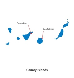 Detailed map of Canary Islands and capital city vector image