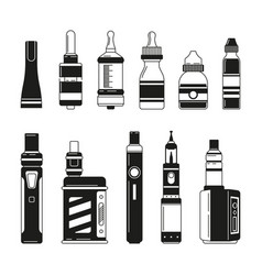 electronic cigarettes and bottles for smoking club vector image