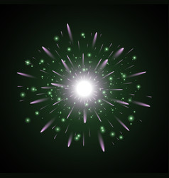 glowing light with sparks green and purple colors vector image vector image