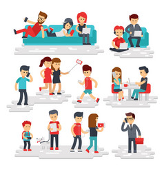 people with gadgets flat style isolated on vector image