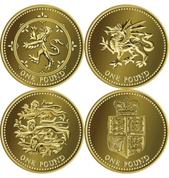 set british money gold coin vector image vector image