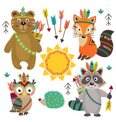 set of isolated tribal animals part 1 vector image vector image