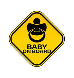baby on board sign with child nipple silhouette in vector image vector image