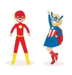 boy and a girl in masks and suits of super heroes vector image