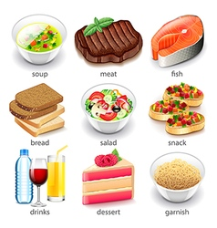 Food types icons set vector image vector image