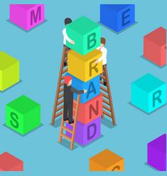 isometric businessman building brand block vector image