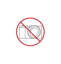 No camera line icon no photo red prohibited sign vector