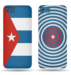 Rear covers smartphone with flags of Cuba vector image