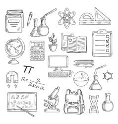 School supplies sketches for education design vector image vector image
