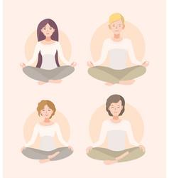 Set young woman and man meditating in lotus pose vector