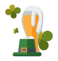 St Patric day beer and hat vector image