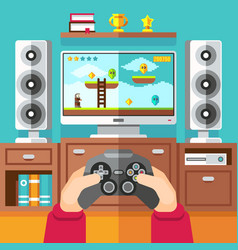 teenager gaming video game with gamepad and vector image