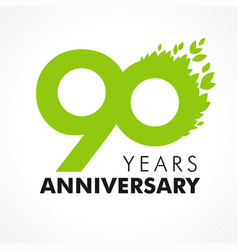90 anniversary leaves logo vector