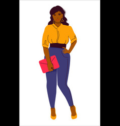 A young confident slightly plump woman in blue vector