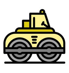 Asphalt road roller icon color outline vector