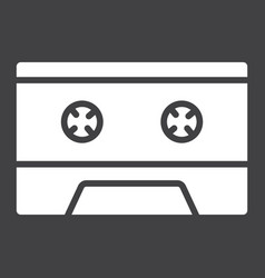 audio cassette glyph icon music and instrument vector image
