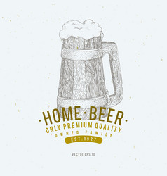 beer logo template hand drawn beer mug vector image