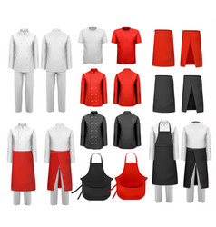 Big set culinary clothing white and red suits vector