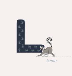 Blue letter l with lemurs vector