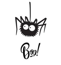 Boo halloween lettering holiday inscription vector