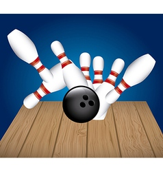 Bowling alley over blue background vector